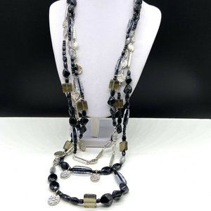 Chico's Multi Strand Beaded Necklace Black Silver